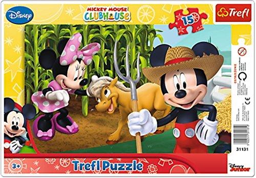 Trefl 31131 - Framepuzzel, Mickey Mouse, op het land, 15 delen