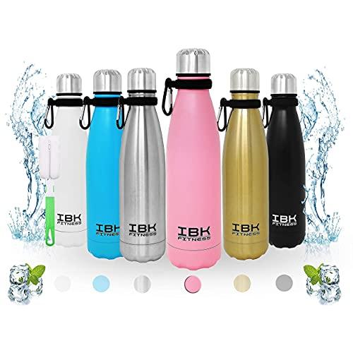 IBK Fitness - Borraccia Termica Portatile 500ML Acciaio Inox senza BPA Bottiglia d'Acqua 24 Ore Freddo e Caldo, Borracce per Scuola, Sport, All'aperto, Palestra, Yoga, con Spazzola pulizia (Rosa)