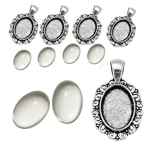 Perlin 6 Set Filigran Medaillons Metall Anhänger Fassungen und 18x13 mm Oval Klar Glas Cabochon, in Silber und Bronze Farbe, Fassung Rahmen Super Optik Bastelset (Silber)