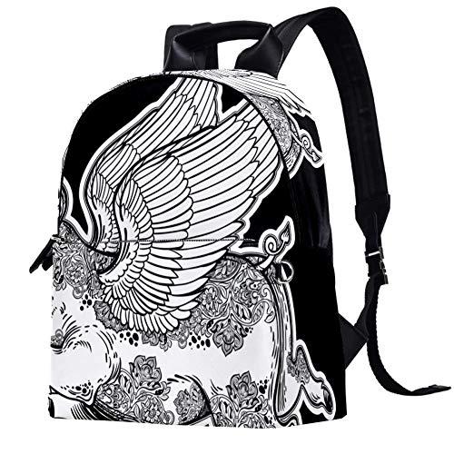 TIZORAX Fantastic Flying Winged Pig Floral Illustration Leather Backpacks Casual Daypacks Travel Bags School Bag for Men Women Girls Boys