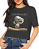 Tengyuntong T-Shirts à Manches Courtes, Whitesnake Trouble Sexy Exposed Nombril Femmes T-Shirt Bare Midriff Crop Top T-Shirts Noir