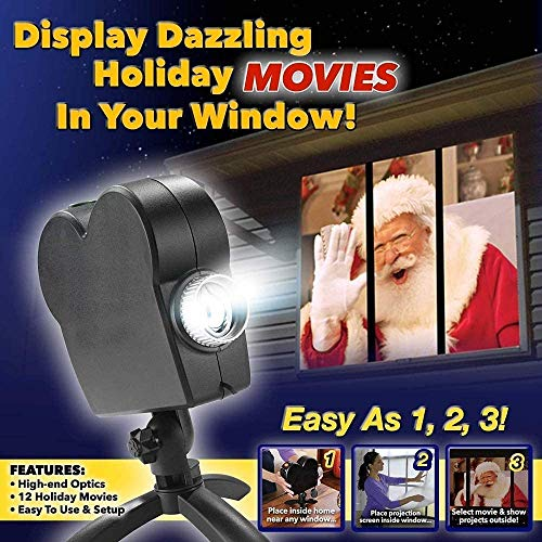YONII Christmas Halloween Window Projector Light,12 Movies Festival LED Projection Decoration Spotlight for Home Outdoor Party Turns Your Windows into Movie Screens
