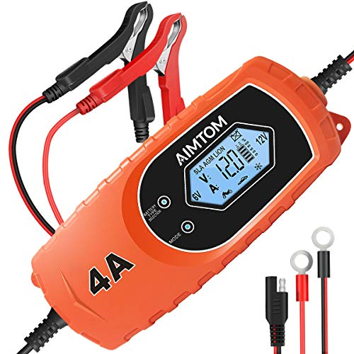 AIMTOM Smart Battery Charger 4 Amp 6/12V Fully Automatic Maintainer 8-Stage...