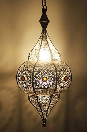 Orientalische Lampe Pendelleuchte Silber Elif 53cm E27 Lampenfassung | Marokkanische Design Hängeleuchte Leuchte aus Indien | Orient Lampen für Wohnzimmer, Küche oder Hängend über den Esstisch