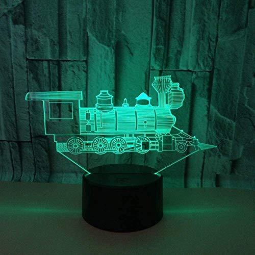 JAOSY Tren Estereoscópico 3D LED Colorido Gradiente Lámpara Noche Toque Remoto USB Escritorio Lado de la Cama Creativo Ambiente Decorativo Regalos de Cumpleaños y Fiestas 20 * 13cm