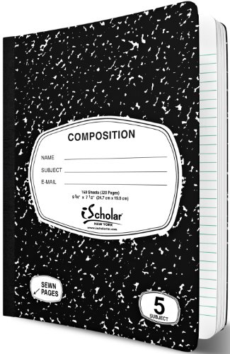 iScholar 5-Subject Composition Book, 160 Sheets, Wide Ruled, 9.75 x 7.5-Inches, Black Marble Cover (10115)