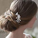 Unsutuo Bridal Hair Comb Crystal Silver Wedding Hair Accessories Rhinestone Leaves Headpieces for Bride and Bridesmaid