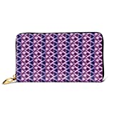 Women's Long Leather Card Holder Purse Zipper Buckle Elegant Clutch Wallet, Trippy Tiles with Digital Ombre Effects Poly Art Overlapping Squares,Sleek and Slim Travel Purse