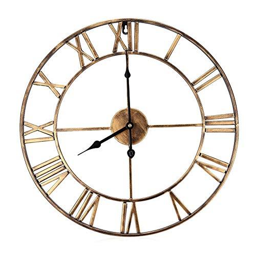 Reloj de pared Reloj de pared retro de hierro - Art Gear Números romanos Reloj vintage 3D Relojes de pared decorativos grandes de poco ruido Decoración del hogar 3 Tamaño opcional - 40x40cm, 50x50cm,