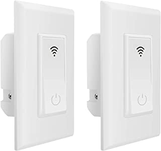 Smart Light Switch,Jinvoo WiFi Smart Wall Light Switch,Voice Control and Timing Function,No Hub Hequired,Easy and Safe installationCompatible with Alexa,Google and IFTTT.(2 pack)