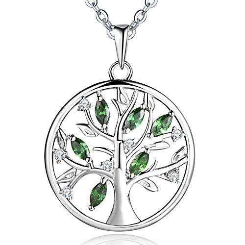 JO WISDOM Collar Colgante Arbol de la vida Familia Plata de ley 925 Cristales 3A Circonita Piedra de Mayo Color Esmeralda Mujer Joyería
