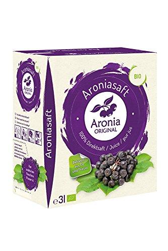 Aronia Original Naturprodukte GmbH 100{c030edc4a08836c31217ea5304bd484336bf0e195f838a1c819927e093cbece7} Bio Aronia-Muttersaft im Monatspack, 1er Pack (1 x 3 l)