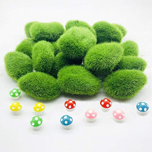 Woohome 30 Stück Künstliche Moosfelsen Dekorative, 2 Größe Grüne Moosbälle Künstliche Moos Steine und 10 Stück DIY Pilz für Feengärten und Handwerk