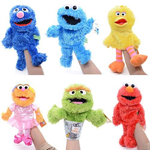 Zpong 6 Estilos 25-30 Cm Sesame Street Marioneta De Mano De Felpa Elmo Oscar Cookie Grover Ernie Big Bird Zoe Muñeco De Peluche Suave para Niños Regalos para Niños
