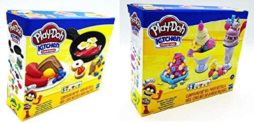 Play Doh Kitchen Creations Ice Cream Scoops n Sundaes Set Plus Breakfast Toast Waffles Set Bundle product image