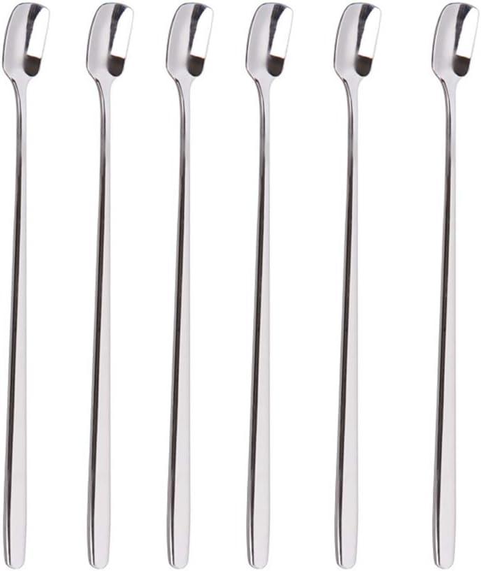6 St/ück Eisbecher hart und tragbar geeignet f/ür den t/äglichen Gebrauch f/ür Kaffee Gold Teel/öffel mit langem Griff Edelstahl Dessert