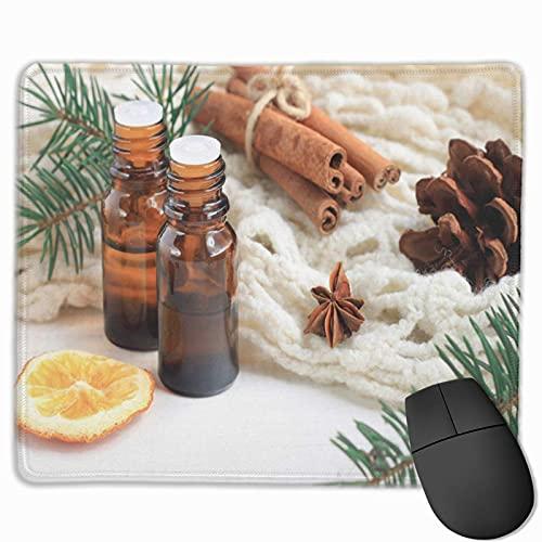 Gaming Mouse Pad,Premium-getextureerde muismat pads, Leuke muismat voor gamer, kantoor en thuis etherische olie mix donkere glazen flessen kaneel dennentwijgen