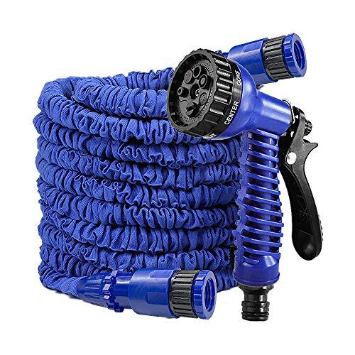 LARS360 Flexibler Gartenschlauch Raktisch Dehnbarer Wasserschlauch Flexibel Schlauch ausgedehnt mit Brause für Haus Garten zur Gartenbewässerung Rasenbewässerung (45M - 150FT, Blau)