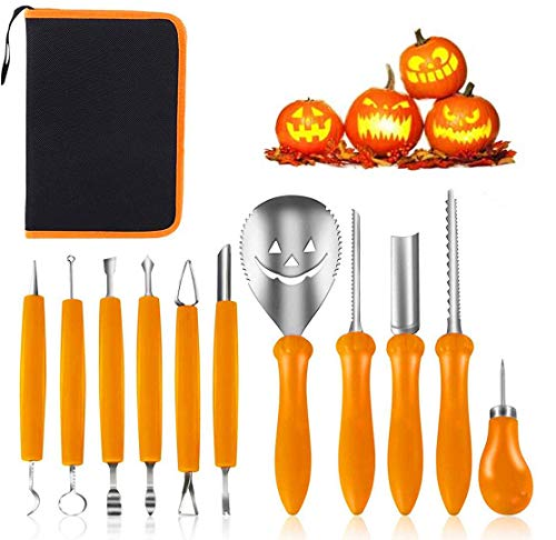 Kürbis Schnitzset,Premium 11 Piece Pumpkin Carving Kit for Halloween,Professional Stainless Steel Pumpkin Carving Tools Set für DIY Halloween Crafts for Kids and Adults