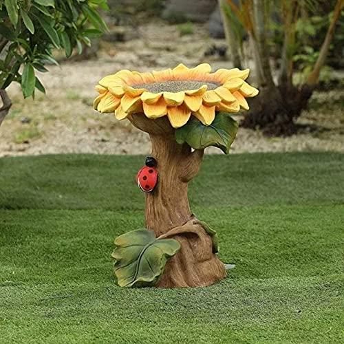 Foroner Mendian Polyresin Sunflower Bird Bath Brown Pedestal,Garden Birdbath with Miniature Fairy House in A Tree Stump,Handmade Gifts for Outdoor Home Garden Backyard (02)