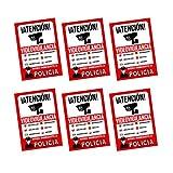 Pegatina alarma securitas | Cartel zona videovigilada adhesivo | Pegatinas de Videovigilancia | Aviso a la Policía Rojo - multilingüe (14,8 x 10,5 cm) (6 Piezas pegatinas videovigilancia)