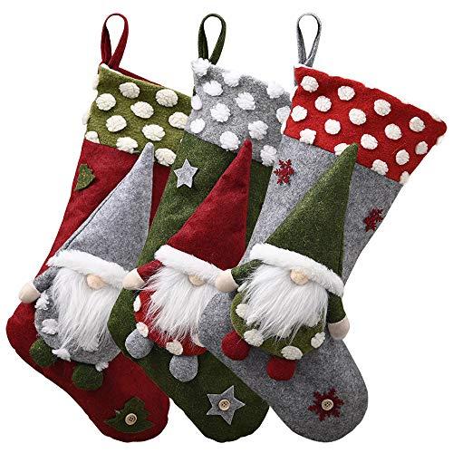 Submarine Nikolausstiefel zum Befüllen, Weihnachten Wichtel Plüsch Glückliche GNOME Stickerei Nikolaussocken Große Weihnachtsstrümpfe Hängend Nikolausstrümpfe Weihnachtsdeko (3er Set)