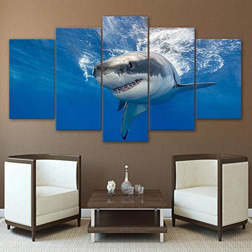 SMXSSJT Cinco Cuadros Consecutivos Gran Tiburón Blanco Carteles Impresos Sala De Estar Decoración del Hogar Lienzo Modular Imágenes Arte De La Pared.30X60Cm*2/30X70Cm*2/30X80Cm*1(Sin Marco)