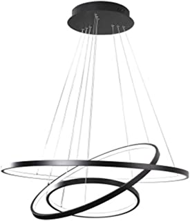 Houdes Dimmable Chandeliers Led Lighting Modern Three Rings Pendant Lamp for Dining Room Vanity Circle Lights (40cm 60cm 80cm)