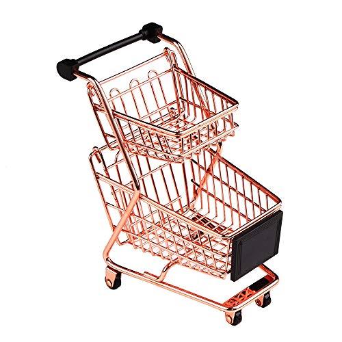 Senmubery Doble capa de carrito de la compra modelo de hierro forjado supermercado carrito metal oro rosa cesta de almacenamiento oro rosa