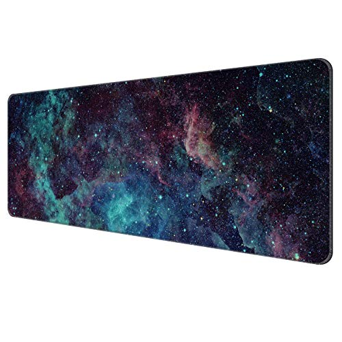 Dynippy Thin Extended Gaming Mouse Pad with Stitched Edges Large Mousepad Long XXL Keyboard and Mouse pad Desk Mat for Gaming Office & Home - Galaxy Space (Galaxy Space)