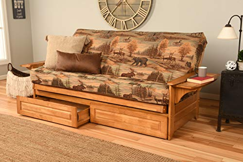 Kodiak Furniture Phoenix Full Size Futon in Butternut Finish with Storage Drawers, Canadian