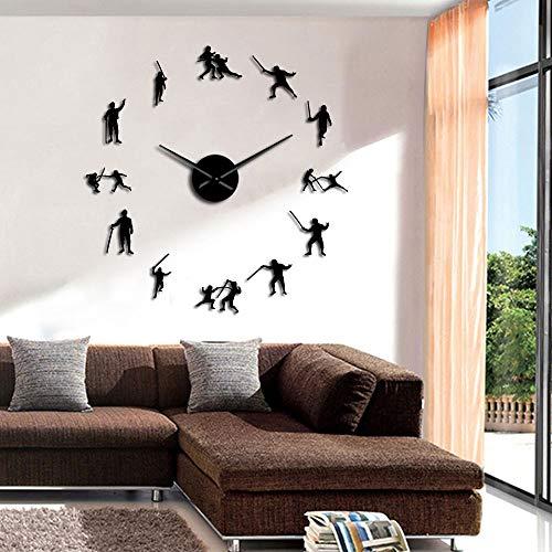 Rgzqrq Esgrima diseño Moderno esgrima Cerca de Pared Grande pez Espada Espejo acrílico Pegatina habitación de niño silencioso sin Marco Reloj Grande ick 37 Pulgadas