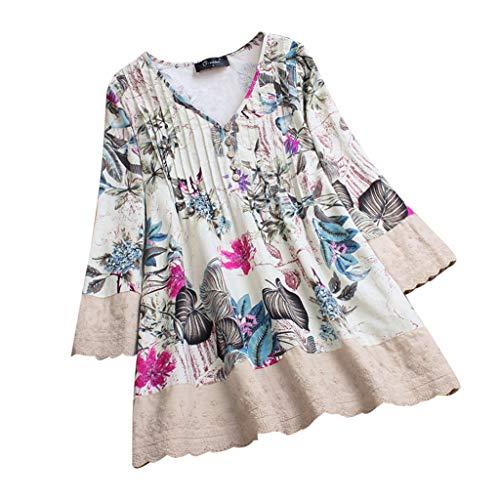 VEMOW Herbst Frühling Sommer Elegante Damen Frauen Stehkragen Langarm Casual Täglichen Party Strand Urlaub Lose Tunika Tops T-Shirt Bluse(Z1-Rosa, 48 DE / 3XL CN)