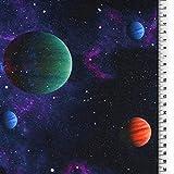 Loopomio Jersey Stoff Stars Weltraum Sterne Planeten 0,50m