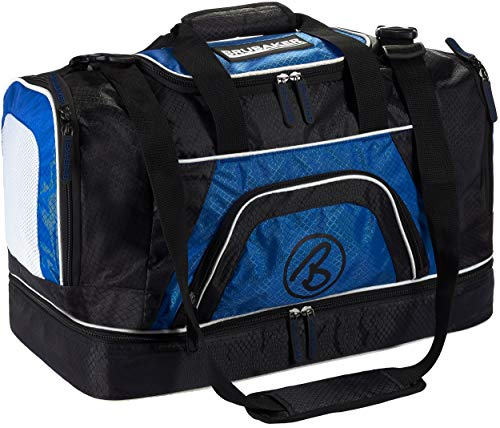 BRUBAKER Big Base XXL Bolsa de Deporte con Gran Compartimento húmedo + Compartimento para Zapatos - 90 litros - Azul
