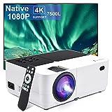 Proyector Nativo 1080P Full HD 7500 lúmenes,Soporte 4k Mini proyector de Video Compatible Ajuste Digital Proyector LED...