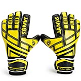 Valorsports Youth&Adult Goalie Goalkeeper Gloves,Strong Grip for The Toughest Saves, with Finger Spines to Give Splendid Protection to Prevent Injuries (BlackYellow, 9)