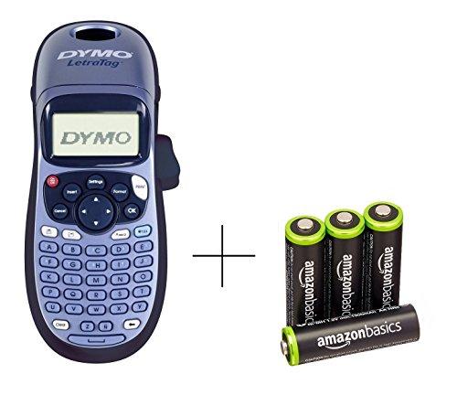 Dymo S0883990 LetraTag LT-100H Etikettendrucker Handgerät, blau & AmazonBasics Vorgeladene Ni-MH AA-Akkus - Akkubatterien (1.000 Zyklen, typisch 2000mAh, minimal 1900mAh) 4 Stck