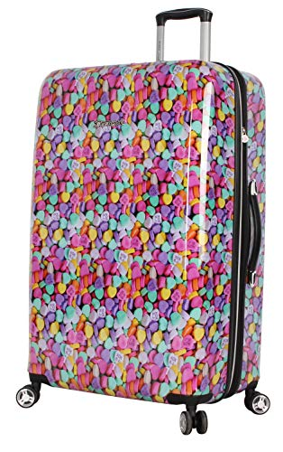 Betsey Johnson 30 Inch Checked Luggage Collection - Expandable Scratch Resistant (ABS + PC) Hardside Suitcase - Designer Lightweight Bag with 8-Rolling Spinner Wheels (Candy Heart)