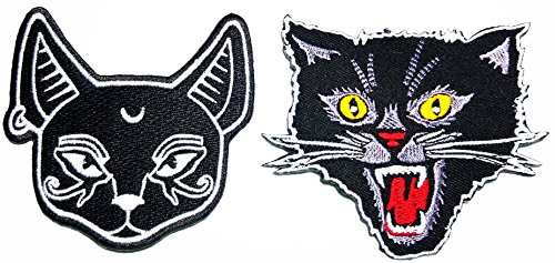 Black Cat Kitten Crescent Moon Rider Motorcycle Biker Patch Logo Jacket T-shirt Patch DIY Applique Embroidered Sew Iron on Patch