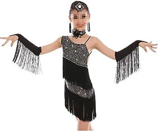 ドレスプリンセスコスチューム タンゴダンスのテーマキッズガールズドレス大人用アダルトウェア 肌にやさしい通気性 (色 : ブラック, サイズ : 130cm)