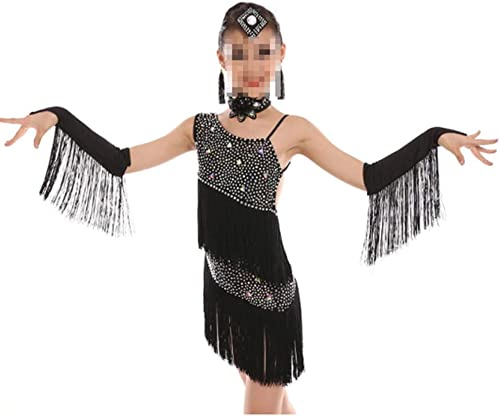 Liergou Robe de Danse Tutu pour Filles Tango Dance Theme Enfants Girls Robe Outfits pour Adultes (Couleur   Noir, Taille   120cm)