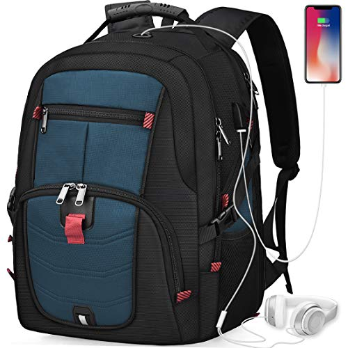 Laptop Backpack 17 Inch Waterproof Extra Large TSA Travel Backpack Anti Theft College School Business Mens Backpacks with USB Charging Port 17.3 Gaming Computer Backpack for Women Men Blue 45L