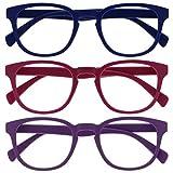Opulize Pop Pack 3 Retro Redondo Azul Mate Suave Rosa Púrpura Hombres Mujeres Gafas De Lectura Bisagras Resorte RRR2-345 +2,00