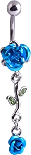 JoinLove Navel Rings Rose Flower 316L Dangle Body Piercing Jewelry for Women Curved Barbell Body Piercing