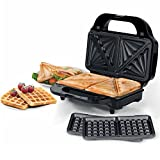 Beldray EK2143TWOBGP-VDE 2-in-1 Snack Maker with Sandwich and Waffle Plates, European Plug