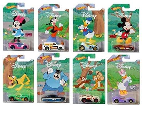 Samochód zabawkowy, kompatybilny z figurkami Hot Wheels Disney, 8 cm, 1 sztuka chłopięcy, fany, kino, film, samochodem, zabawka, Donald Duck | Myszka Mickey | Goofy | Minnie | Daisy | Pete | Chipn Dale