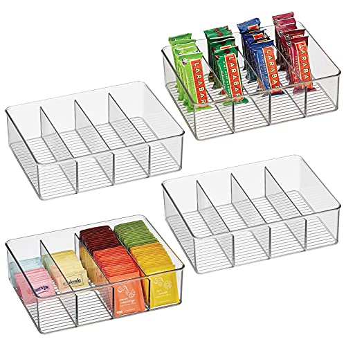 mDesign Plastic Food Storage Organizer Bin with 4 Divided Compartments for Kitchen Cabinet, Pantry, Shelf to Organize Seasoning Packets, Powder Mixes, Pouches, Spices, Snacks - 4 Pack- Clear