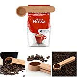 Wooden Coffee Scoop and Bag Clip - 1 Tablespoon Measure 2-in-1 Bags Sealer Measuring Spoon For Ground Beans, Espresso Coffee and Loose Herb Tea - Unique Coffee Lovers Gifts By Bar Amigos