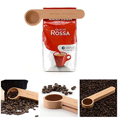 Bar Amigos Wooden Coffee Scoop and Bag Clip - 1 Tablespoon Measure 2-in-1 Bags Sealer Measuring Spoon For Ground Beans, Espresso Coffee and Loose Herb Tea - Unique Coffee Lovers Gifts